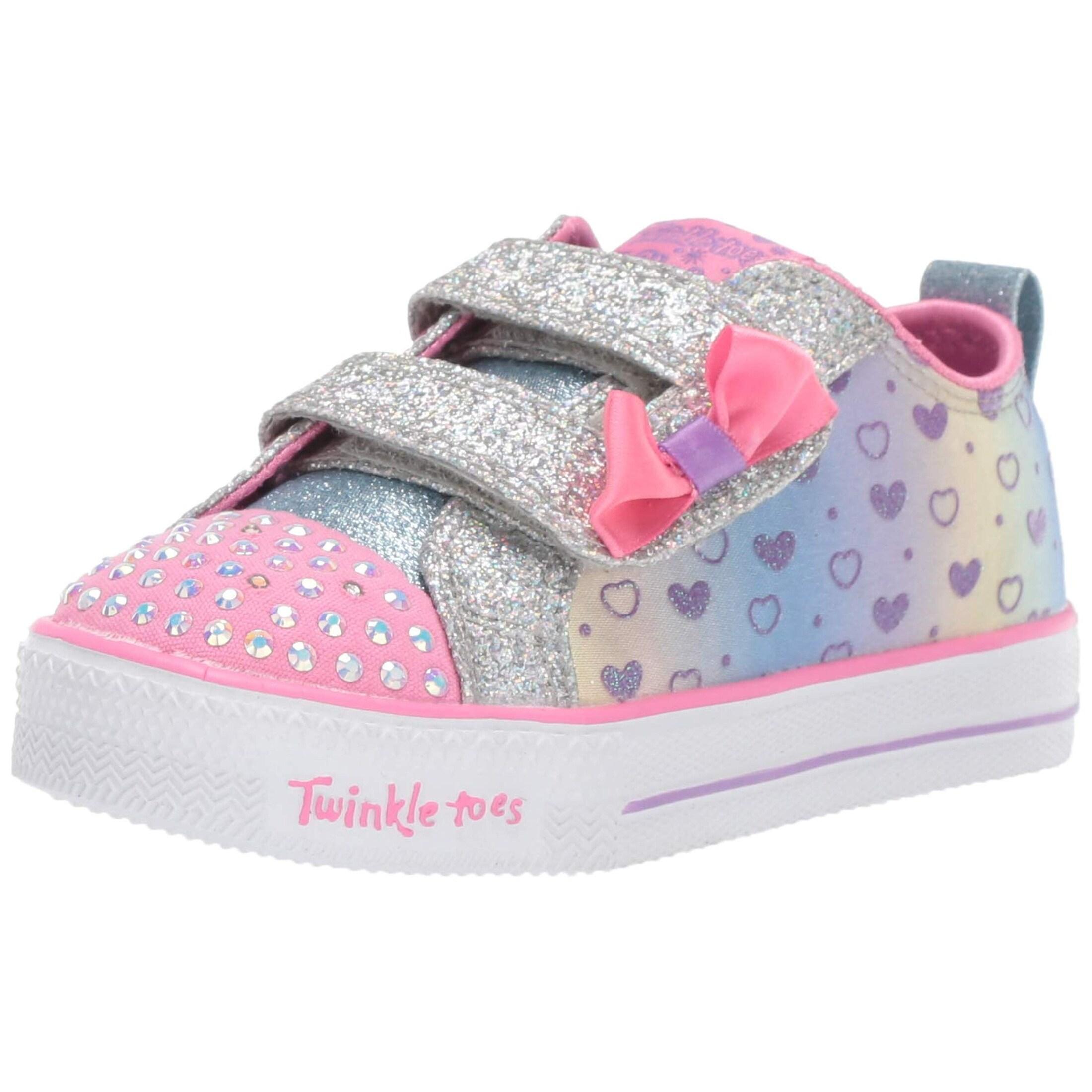 Skechers Kids Girls' Shuffle Lite Sparkly Hearts Sneaker, SilverMulti