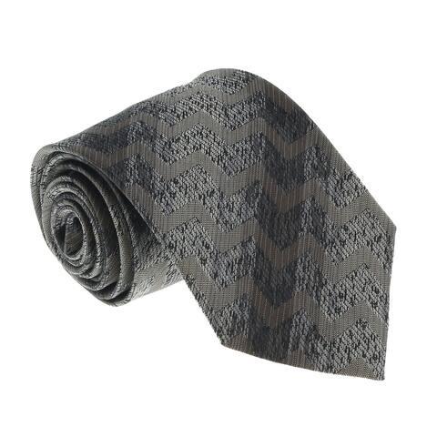 Missoni U4709 Gray/Black Chevron Pure Silk Tie - 60-3