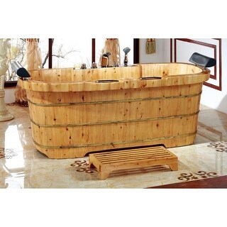 "ALFI brand AB1130 65"" Soaking Bathtub for Free Standing Installation - comes wit - Natural Wood"
