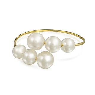 Bling Jewelry Gold Plated Imitation White Pearl Open Bangle Bracelet