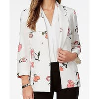 Nine West White Womens Size XL Floral Open Front Two Pocket Jacket