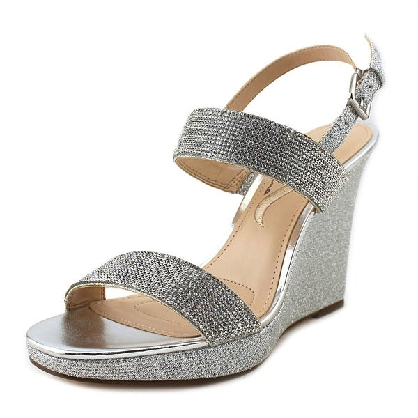 Nina Adila Women Open Toe Synthetic Silver Wedge Sandal