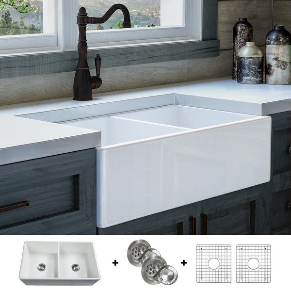 Luxury 33 Inch Modern Fireclay Farmhouse Kitchen Sink