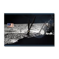 Neil Armstrong On The Moon - Vintage Photograph (Acrylic Wall Clock) - acrylic wall clock