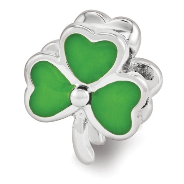 Sterling Silver Reflections Enameled Swarovski Elements Shamrock Bead (4mm Diameter Hole)