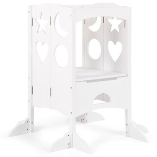 Gymax Folding Kids Kitchen Counter Step Stool For Little Chef White