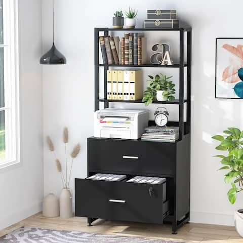 2 Drawer File Cabinet with Lock & Bookshelf, Letter Size Large Printer Stand