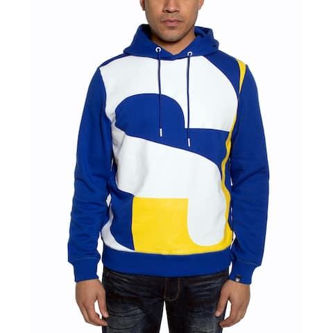Sean John Mens Sweater White Yellow Pullover Hooded-
