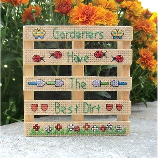 "Wood Pallet Gardeners Counted Cross Stitch Kit-4""X4"" 14 Count"