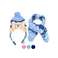 613b106160292 Shop Kids Boys Girls Snow Flake Knitted Pom Trapper Hat and Scarf ...
