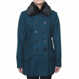 Esprit Women's Double Breasted Wool Coat with Faux Collar