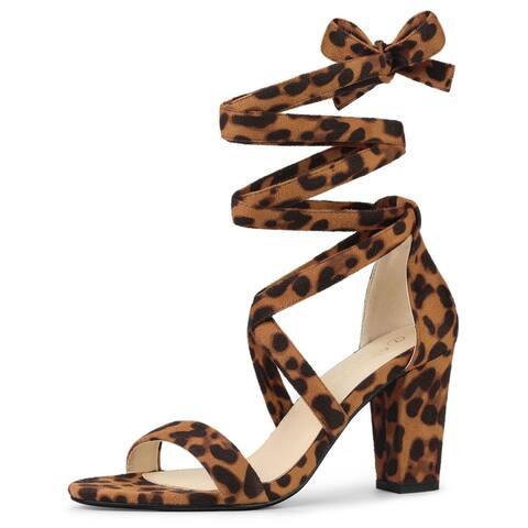 Allegra K Women's Crisscross Lace Up Mid Block Heels Sandals