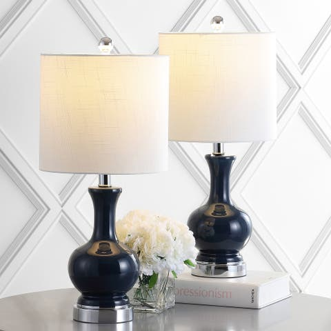 """Cox 22"""" Metal/Glass LED Table Lamp, Navy (Set of 2) by JONATHAN Y"""