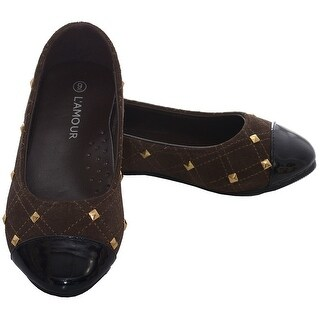 L'Amour Brown Suede Patent Gold Stud Ballet Shoe Toddler Girls 7-10