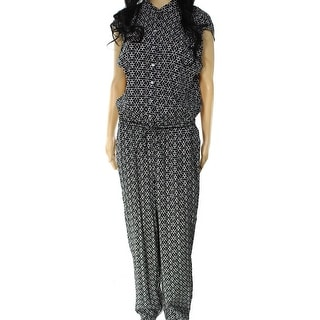 Max Studio NEW Black Women's Size Small S Drawstring Printed Jumpsuit