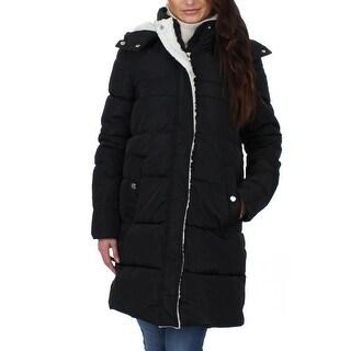 Steve Madden Womens Puffer Coat Winter Faux Down