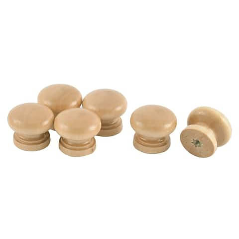 Uxcell 28mm Drawer Cabinet Cupboard Gate Door Wooden Pull Knobs Handle Beige 6 Pcs