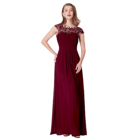 a1f5a12aeec Ever-Pretty Womens Cap Sleeve Lace Neckline Ruched Bust Evening Dresses  09993