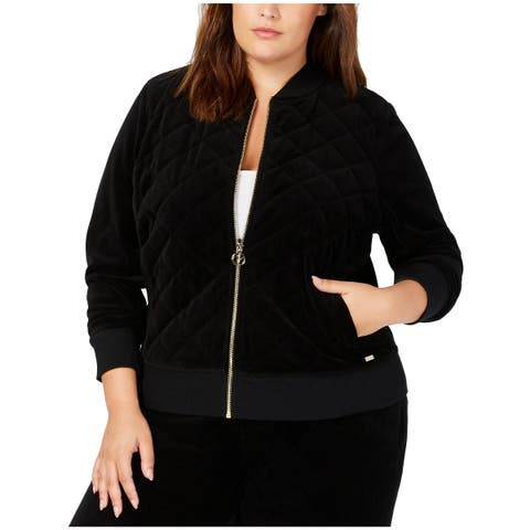 Calvin Klein Womens Plus Bomber Jacket Velour Quilted