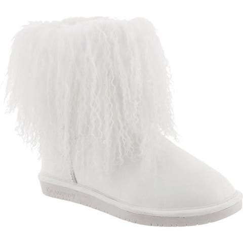 72c5bd132626 Bearpaw Women s Boo Solids Furry Boot White Curly Lamb Hair Cow Suede