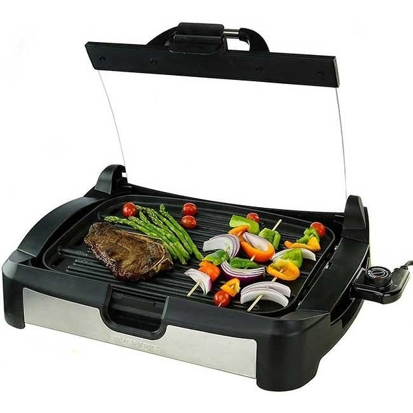 Ovente GR2001B 2 in 1 Electric Indoor Smokeless Grill and Griddle, Glass Lid & Removable Drip Tray, Black - 10 x 15.5 inch. Opens flyout.