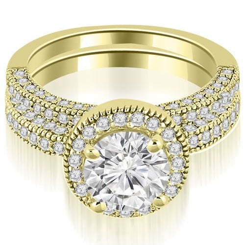 1.60 cttw. 14K Yellow Gold Halo Round Cut Diamond Bridal Set