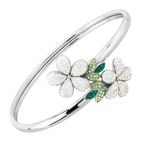 Crystaluxe Floral Bypass Cuff Bracelet with Swarovski Crystals in Sterling Silver - White