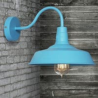 Vintage industrial gooseneck arm wall sconce with blue finish