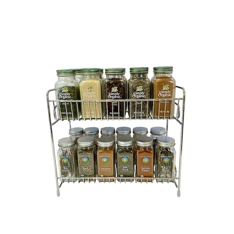 Evelots Free Standing 2-Tier Countertop Rack-Chrome Plated Iron - 2 Tier