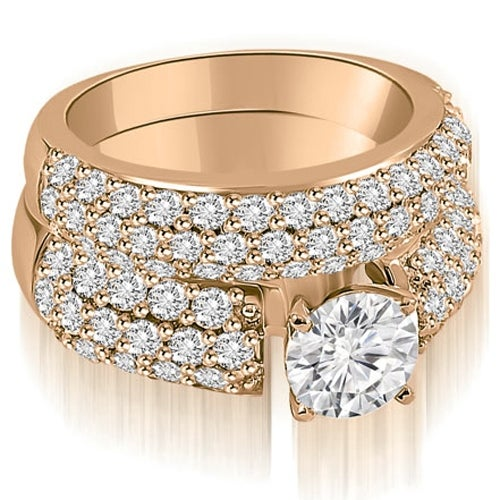 3.05 cttw. 14K Rose Gold Three Row Round Cut Diamond Bridal Set