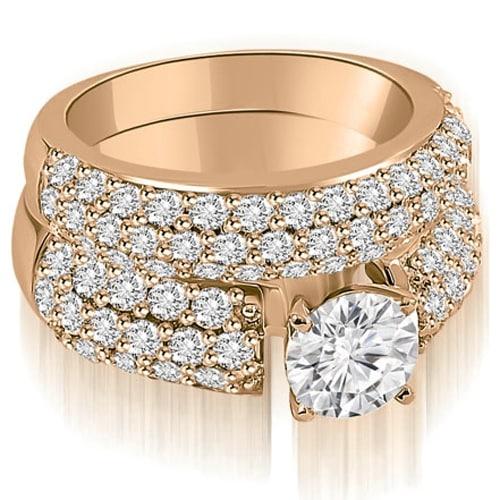 3.30 cttw. 14K Rose Gold Three Row Round Cut Diamond Bridal Set
