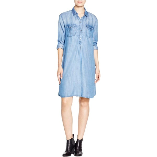 4Our Dreamers Womens Shirtdress Partial Button Front Long Sleeve