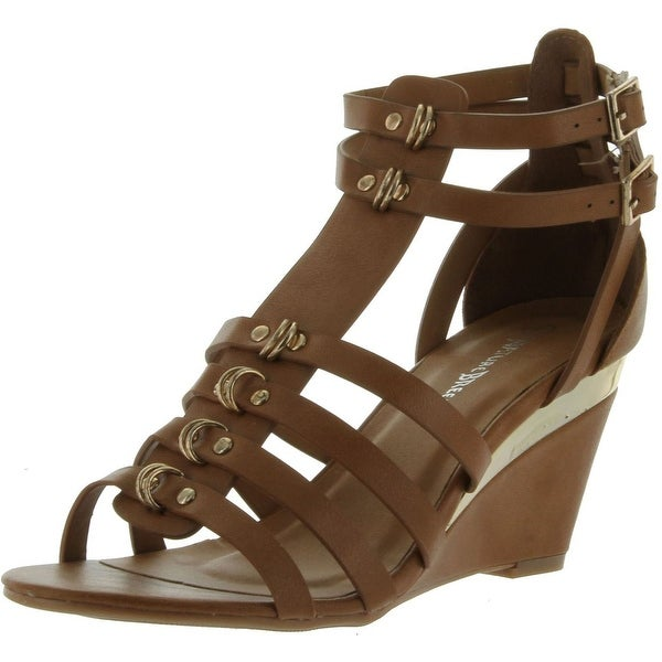 Nature Breeze Womens Memphis-02 Wedge Gladiator Sandals - Tan