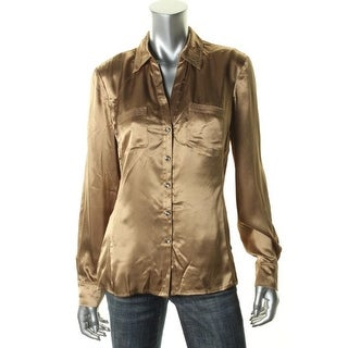 Jones New York Womens Shimmer Long Sleeves Button-Down Top - 12