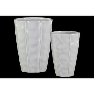 Decorative Ceramic Vase With Embedded Wave Design, Glossy White, Set of 2