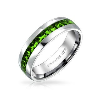 Bling Jewelry Imitation Peridot Crystal Eternity Band Steel