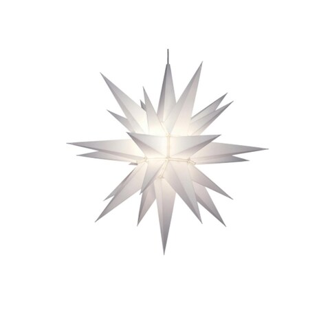 """21"""" Lighted 3-Dimensional White Moravian Star Hanging Christmas Decoration"""