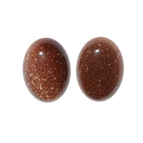 Brown Goldstone Gemstone Oval Flat-Back Cabochons 18x13mm (2 Pieces)