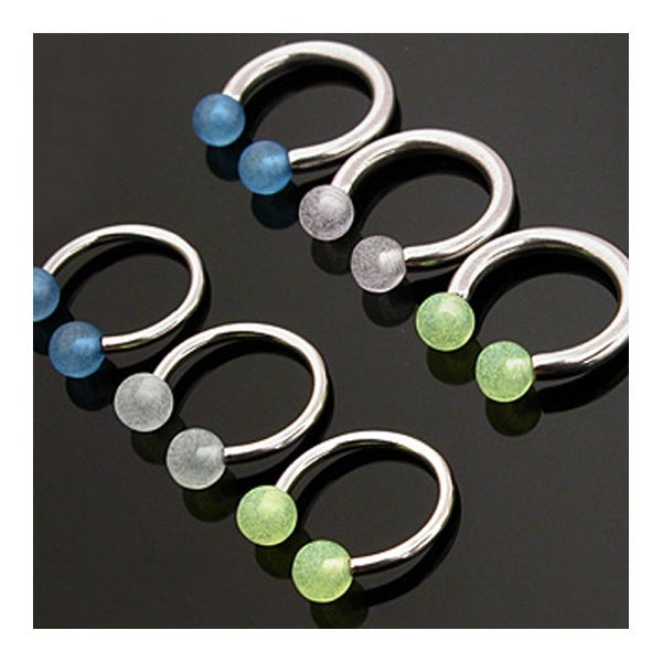 """Surgical Steel Horseshoe Circular Barbells with Glow in the Dark Balls - 16GA 3/8"""" Long (Sold Ind.)"""