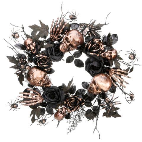 "24"" Bronzed Skull and Rose Halloween Wreath"