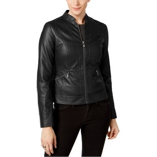 Link to I-N-C Womens Faux Leather Motorcycle Jacket, black, Large Similar Items in Women's Outerwear