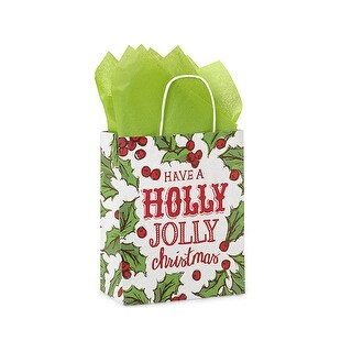 """Pack of 250, Cub Holly Berry Tidings Paper Bags 8 x 4.75 x 10.25"""" For Christmas Packaging, 100% Recyclable,"""