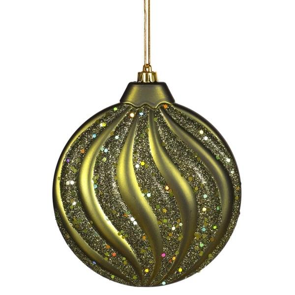"Olive Green Glitter Swirl Shatterproof Christmas Disc Ornament 6"" (150mm)"