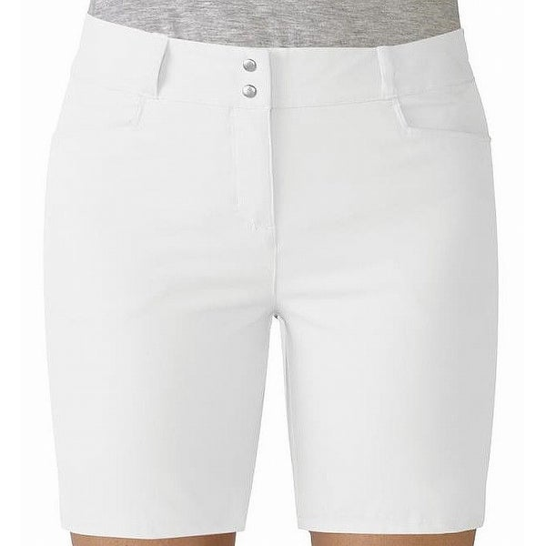 Adidas Bright White Womens Size 8 Solid Bermuda Walking Shorts