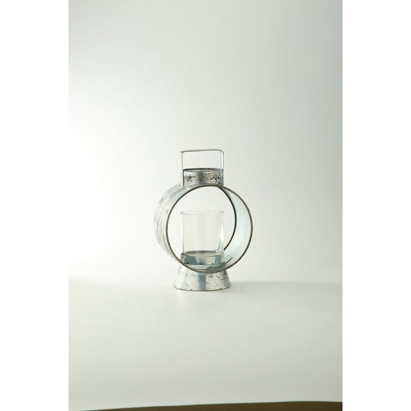 """10"""" Clear Distress Finish Glass Candle Holder - N/A"""