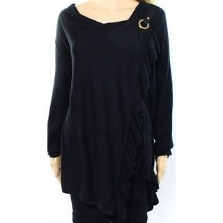 INC NEW Deep Black Womens Size Medium M Cowl Neck Ruffle Wrap Sweater