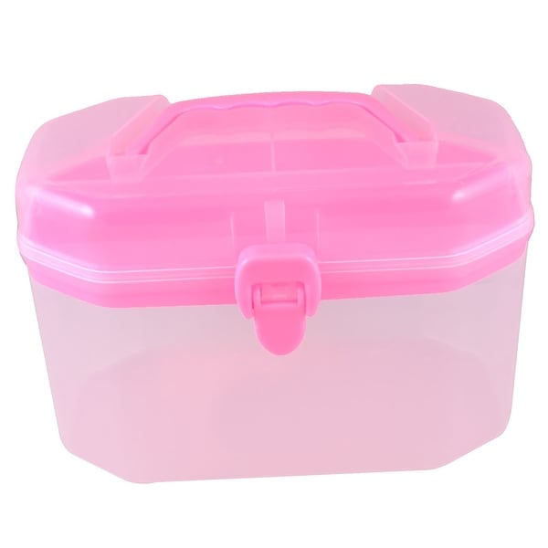 Clear Pink Medicine Box Shape Double Layers Components Storage Box Holder