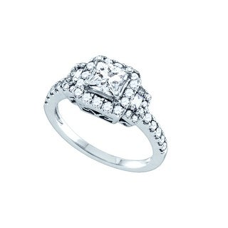 1 1/4Ct Diamond 5/8Ct-Cpr Bridal Engagement Ring 14K White-Gold