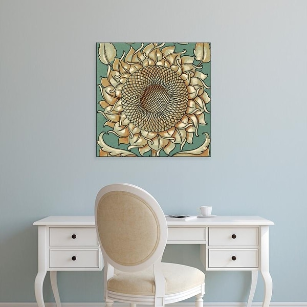 Easy Art Prints Unknown's 'Sunflower Woodblock I' Premium Canvas Art