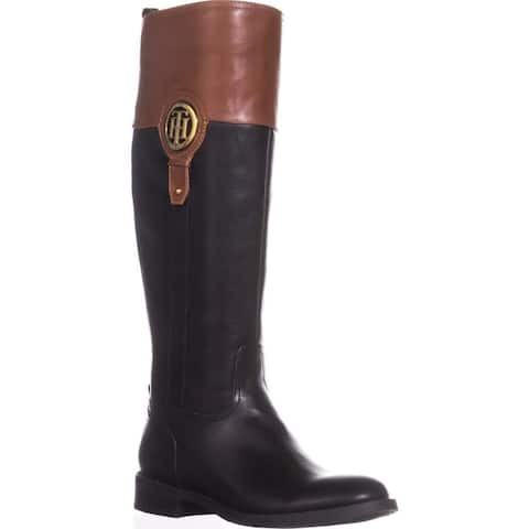 Tommy Hilfiger Womens Imina Leather Closed Toe Knee High Riding Boots